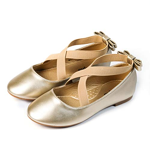 Nova Utopia Toddler Little Girls Dress Ballet Ankle Strap Flat Shoes,NF Utopia Girl NFGF318 Gold -
