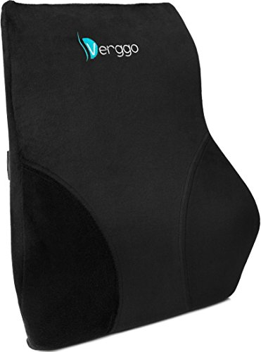 Verggo Lumbar Pillow - Premium Lower Back Support For Office Desk Chair Car Seat Couch and Sofa - Ergonomic Memory Foam Cushion Relieves Sciatica Pain - Computer Chairs & Reading In Bed Comfort Rest (Back Chair Covers Straight)