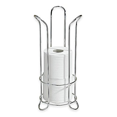 Chrome Frame Tulip (Classico Freestanding Toilet Paper Roll Holder Stores up to 3 Extra Rolls in its Tulip-Shaped Frame (Chrome))
