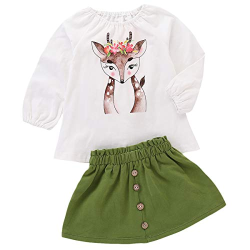 2PCS Toddler Kids Baby Girls Outfits Spotted Deer Print T-Shirt Long Sleeve Top + Button A-line Skirt Clothes Set (White, 3 (Long Sleeve Skirt)