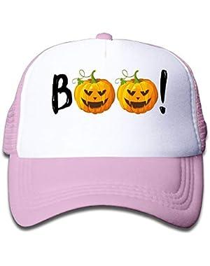 Halloween Pumpkin Boo5 On Children's Trucker Hat, Youth Toddler Mesh Hats Baseball Cap
