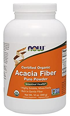 NOW Supplements, Organic Acacia Fiber Powder, 12-Ounce