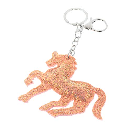 NATFUR Fluffy Keyring Sparkling Handbag Pendant Charm 8 Styles Keychain Car Decor Pretty for Women for Men Holder for Girls Pretty Beautiful Great Fine | Color - Horse