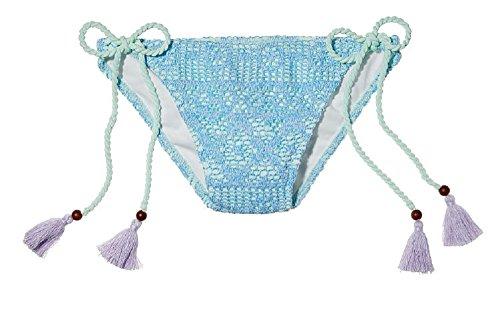 Victoria's Secret The Teeny Bikini Swim Bottom Sky Blue Lace Tassle Side Tie (large) Victoria Swim Bottom