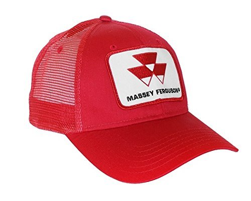 (J&D Productions Red Massey Ferguson Tractor Logo Hat with Mesh)