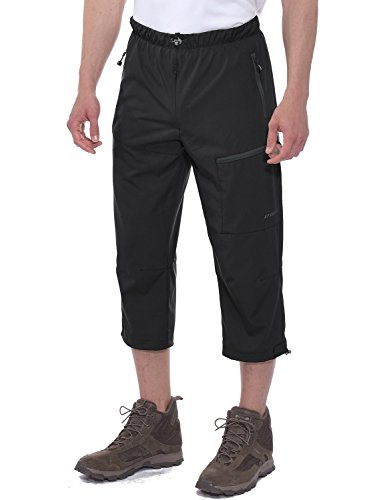 Knicker Capris - Spexial Men's Outdoor Stretch Quick Dry Capri Hiking 3/4 Pants Black Size L