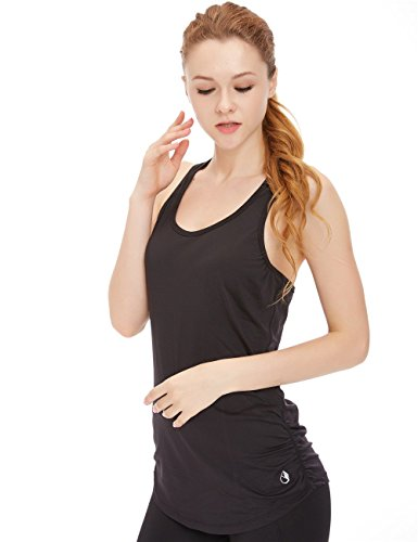 icyzone Woemen's Soft Racerback Workout Yoga Fitness Sports Tank Top (M, Black) by icyzone (Image #1)
