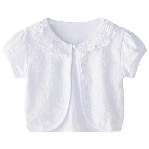 CHENXIN Girls Shrug Knit Long/Short Sleeve Lace Bolero Cardigan Shrug (White 2, - Girls Bolero Dress