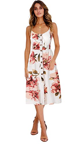 Blooming Jelly Womens Summer Sleeveless Hawaiian Dresses High Waist Button Down Floral Boho Midi Chiffon Dress with Pockets (X-Large, White)