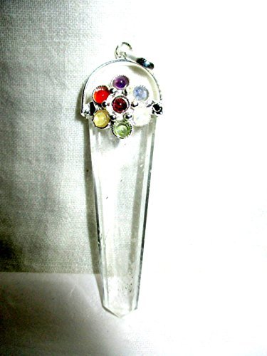 Crystal Quartz Flower Flat Chakra Pendant 2 inch approx. A++ Top Grade Jet International Healing Spiritual Divine India Crystal Therapy (Aromatherapy Wand Pendant)