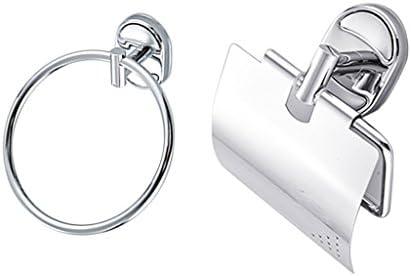 CUTICATE ステンレススチールウォールマウント金属バスルームペーパーホルダー+タオルハンガーリング