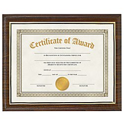 V-LIGHT Walnut Finish Award Plaque with Insertable Document Display