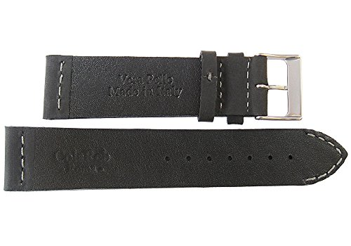 ColaReb 22mm Venezia Black Leather GREY Stitch Watch Strap Made in Italy by ColaReb (Image #1)