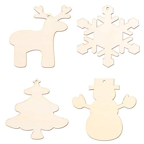 Supply 4pcs Snowflake Deer Snowman Christmas Tree Cutout Veneers Slices For Patchwork Diy Crafting Wooden Christmas Tree Pendants Festive & Party Supplies