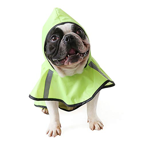 Hdwk&Hped Dog Raincoat for Small to Large Dog, Waterprof PU Pet Rain Poncho with Reflective Stripes Green #3