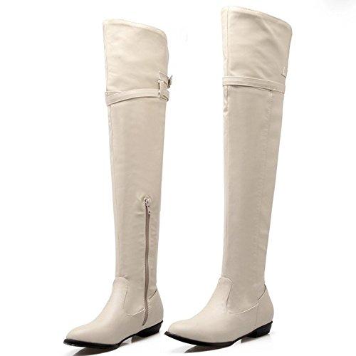 3510beige Long Taoffen Zipper Boots Women's Half SZWTOYq