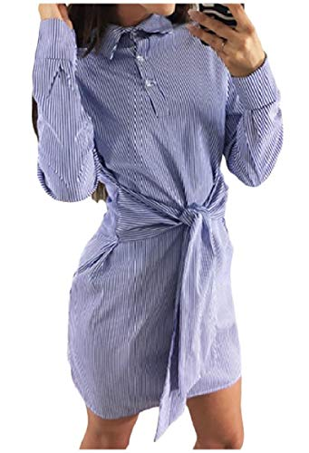 Howme-femmes Une Ligne Mini Robe Casual Tops Polo Rayé Simple Boutonnage Bleu Clair