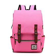 15 inches Retro backpack School bag Notebook Computer Neutral Canvas Backpack (rose Red)