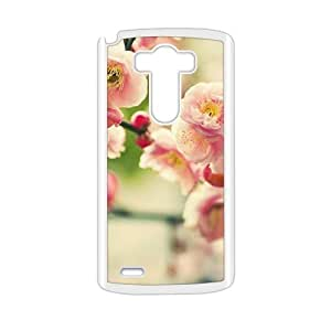 Personalized Clear Phone Case For LG G3, peach pink flowers blossom glam spring scene