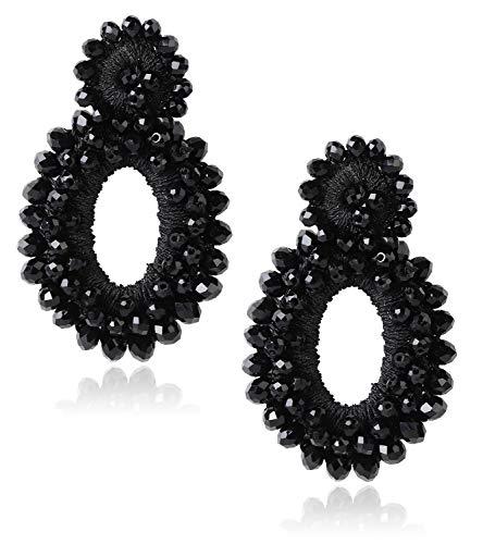 (JOERICA Statement Beaded Earrings for Women Girls Bohemian Dangle Teardrop Earrings Bead Round Handmade Fashion Drop Earrings Idea Gift for Mom Sister and Friends)