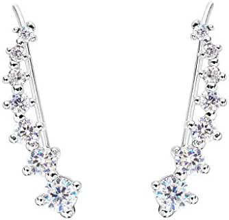 EVER FAITH 925 Sterling Silver Cubic Zirconia Round Long Ear Sweep Cuff Wrap Hook Earrings 1 Pair Clear