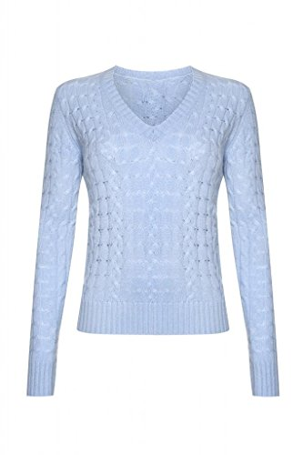 Scottish Wear Ladies Cashmere Cable V- Neck Sweater, Baby Blue, M