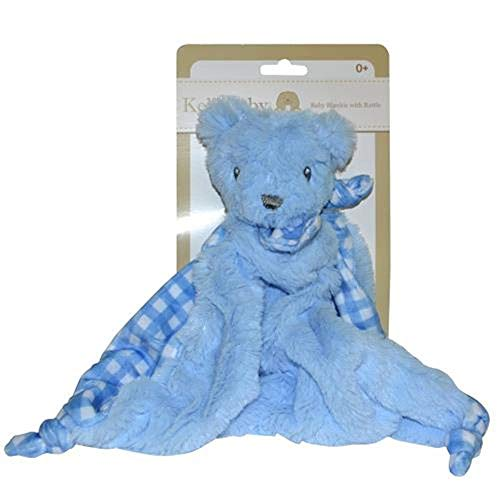 Blue Bear Security Blanket with Rattle Polka Dot ()