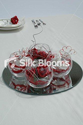 Cuatro arreglo de mesa y pecera - rojo y blanco con diseño de rosas: Amazon.es: Hogar