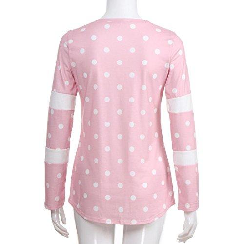 Top Tops collo Bazhahei Striscia shirt ladies Sciolto Rosa Casuale Donna O T Camicie Camicetta v5wfB