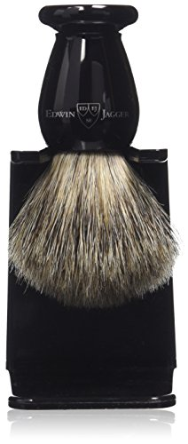 Edwin Jagger Best Badger Dachshaar-Rasierpinsel mit Tropfständer, Ebenholzimitation, klein, 1er Pack (1 x 1 Stück)