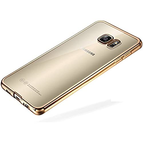 Galaxy S7 Edge Case, G-i-Mall [Clear View] Hybrid Scratch Resistant Back Soft Flexible Cover with Shock Absorbing Golden Bumper Case for Samsung Sales