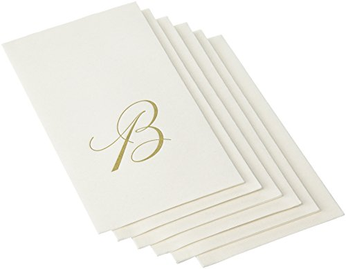 Entertaining with Caspari White Pearl Paper Linen Guest Towels, Monogram Initial B, Pack of (Monogram Paper)