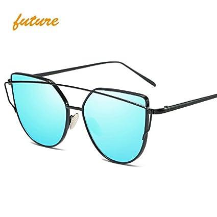 688e06ea01 QiHorr(TM) Cat Eye vintage Brand designer rose gold mirror Sunglasses For  Women Metal