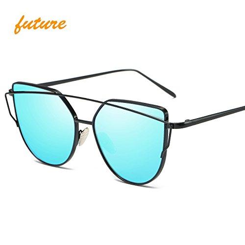 2273ec0f9d6 Amazon.com   QiHorr(TM) Cat Eye vintage Brand designer rose gold mirror  Sunglasses For Women Metal Reflective flat lens Sun Glasses  Black Blue     Sports   ...