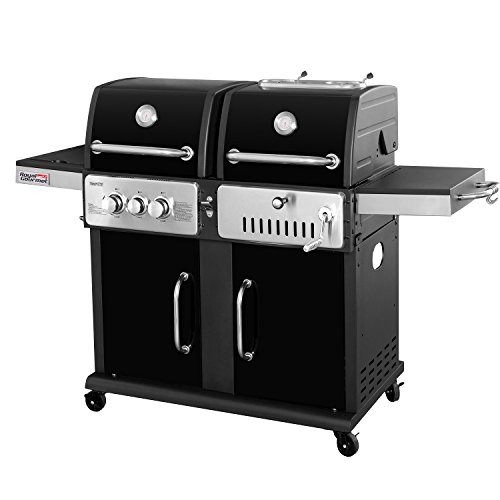 RoyalGourmet Prestige Stainless 2-Burner 33,000 BTU Propane Gas / Charcoal Combo Grill with Side Burner, Black Royal Gourmet Corp