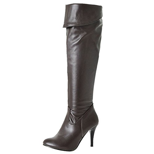 SJJH Women Knee-High Boots with Thin Heel and Pointed Toe Long Boots with 7-Colorss and Plus Brown