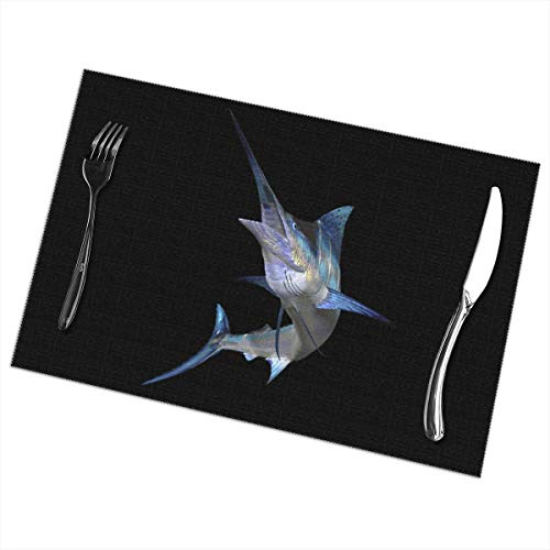 WAY.MAY Marlin-Fish Placemats for Dining Table Set of 6 Washable Heat-Resistant Kitchen Table Mats ()