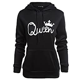 Fenghuo Women\'s Long Sleeve Queen Hoodie Sweatershirt Black XL