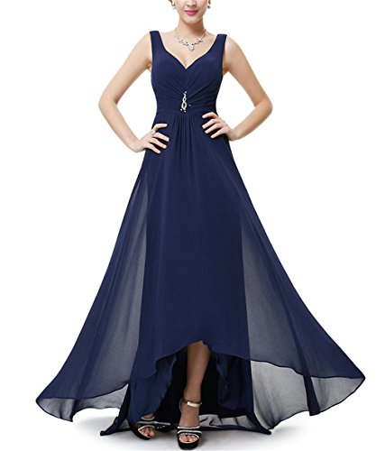 V Long Arrival Photo DRESS Evening Navy Pretty Real Ever Size Plus New Evening EP09983 Rhinestones Blue Double Neck Formal YwqYCZ7