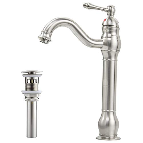 BWE Brushed Nickel Single Hole Lever Bathroom Vessel Sink Faucet With Matching Pop Up Drain With Overflow by BWE