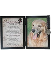 The Grandparent Gift Paw Prints Pet Memorial Frame W/Tag Holder, Black, Beige