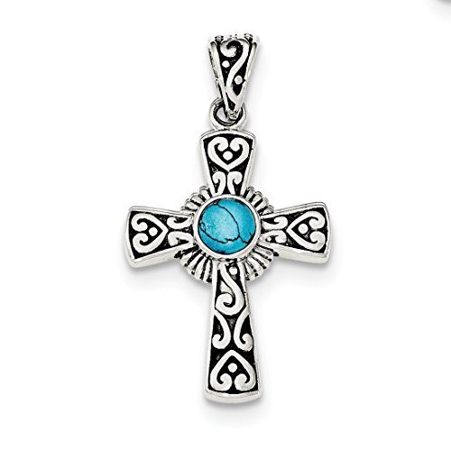 Religious Turquoise Pendant - ICE CARATS 925 Sterling Silver Recon Blue Turquoise Cross Religious Pendant Charm Necklace Fine Jewelry Ideal Gifts For Women Gift Set From Heart