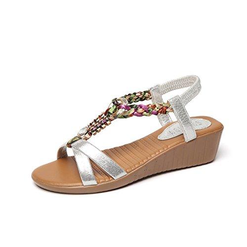 sandali intrecciato e Donyyyy Thirty pendenza spiaggia Piatto inferiore seven sandali elastico scarpe da AAUqSYH