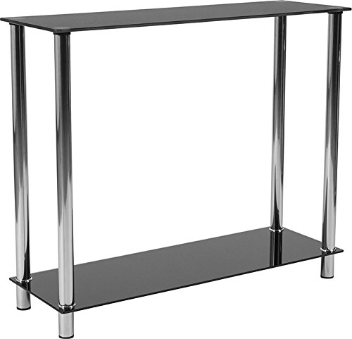 Lakeshore Collection Black Glass Console Table with Shelves and Stainless Steel Frame (Collections Lakeshore)