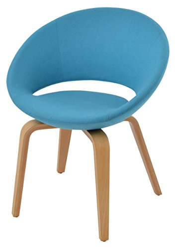 Soho Concept CrescentP-Nrl-TCW Crescent Plywood Dining Chair with Natural Finish Base, Turquoise Camira wool (Tcw Natural)