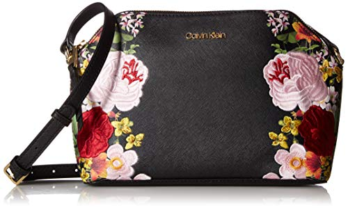 (Calvin Klein Mercy Saffiano Key Item Top Zip Crossbody, black floral )