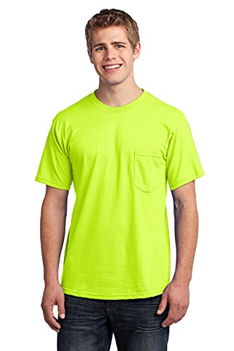 Port & Company Men's All American Tee with Pocket L Safety Green (All American Outfitters)