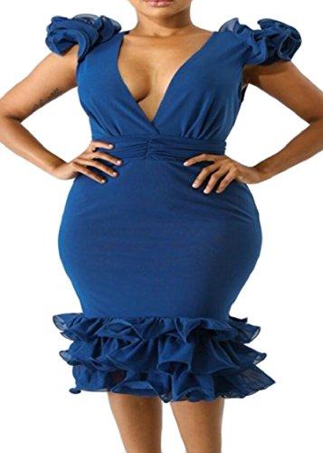 Ruffle Cocktail Hip Collar Jaycargogo Womens Blue Dresses Sleeveless V Stylish Tunic Package nSqx7fFa0