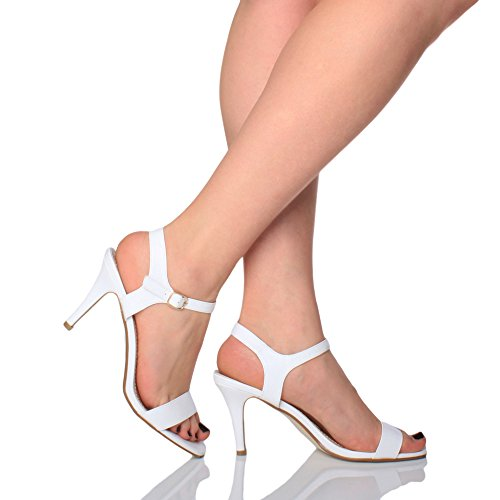 Haute Boucle Pointure Chaussures Sandales Femmes Mat À Fête Blanc Lanières Élégant Talon T1xdwxqB