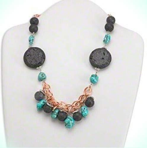 Bold Turquoise Magnesite & Black Lava Beaded 18